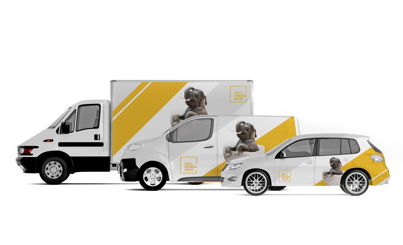 Web & Werbung Moser Layout für Auto Folierung